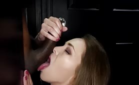 Tiny White Angel Slut Swallows 3 BBC Loads in the Gloryhole
