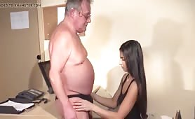 Young Latin Girl and Old Man at the Office