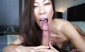 Sexy Asian gets a Huge Cumshot