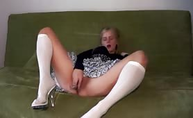 Teen in Corset White Stockings and Transparent Heels Masturb