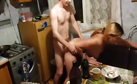 Drunk Russian Wife gets Fucked at the Table