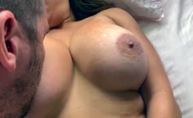 Hubby Eats his own Cum off my Big Tits and makes me Orgasm
