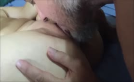 Cuckold Eats Creampie from Mistress Pussy