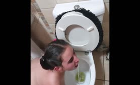 Chubby Licking Toilet Clean and Gets Pissed on with Spit and Slap