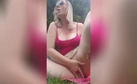 Perv having a dripping wet orgasm in public - outdoor
