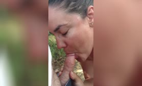 Becky getting orally creampied at the beach