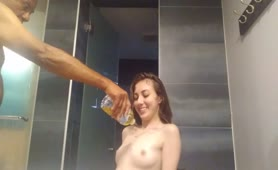 Golden Shower Teen Showers herself with Water Bottle Full of Piss