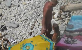 Beach voyeur - BJ and she spits it out