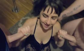 SLUT WIFE Gets her first DOUBLE CREAM PIE