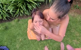 Two Girls Drink Piss from Master's Cock