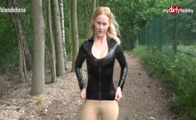 Public latex fan fuck