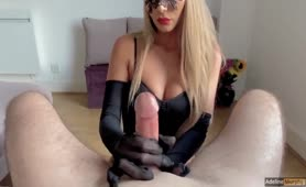 Handjob with Nylon Gloves, Fucks and Receives Cumshot on Face