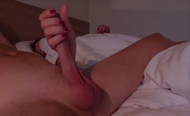 Morning Handjob by Step Sister with Massive Cumshot on Body   she Love the Sperm! Woke up and Cum
